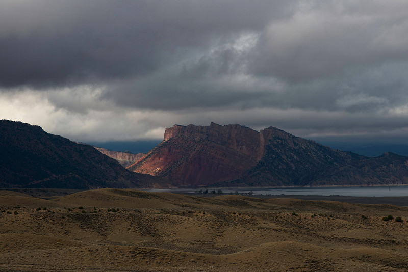 Red rock country from an overview on Highway 191 north of Vernal, Utah on September 25, 2013 looking toward Flaming Gorge Reservoir.