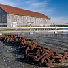 This massive chain lies on the weathered wharf by one of the buildings used by Alaska Packers on Semiahmoo Spit.