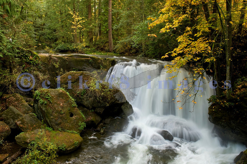 This view of Whatcom Falls in Bellingham's city park of the same name was taken in late October from a sandstone block bridge built by the CCC in 1939.