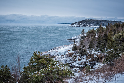 USA, Maine, Rugged coastline of Acadia National Park in winter