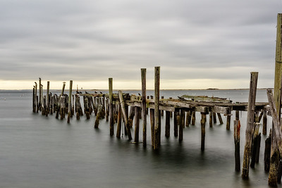 Cape Cod, Mass., USA.  Old, wooden pier with waterfowl and very calm, still ocean.