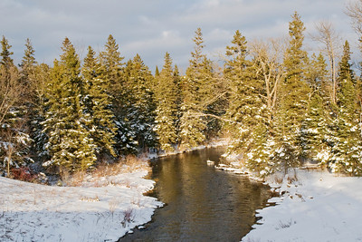 Winter Stream - Straight River - Hubbard County Road 71 - South of Park Rapids, MN