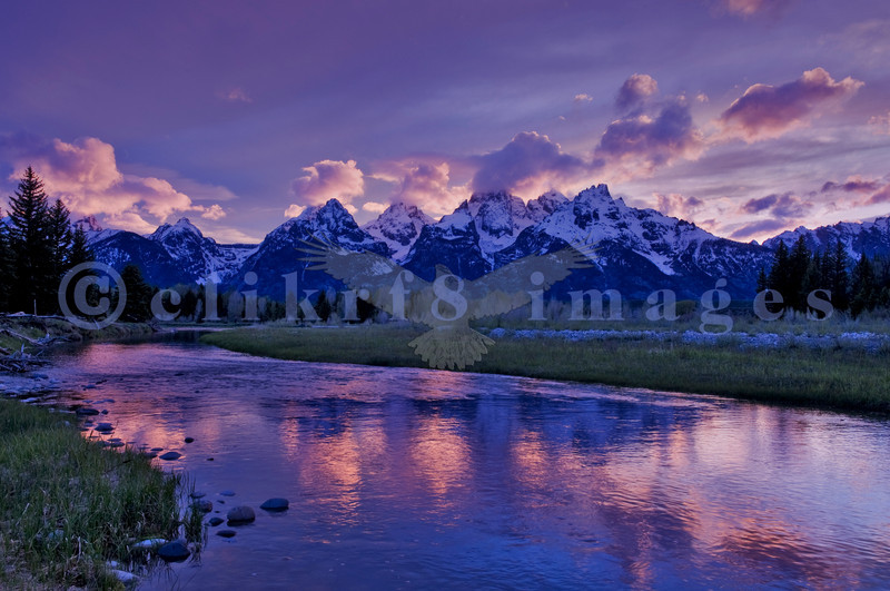 The dramatic sunset from near Schwabacher's Landing was worth the long wait at the end of a photo workshop by Mountain High. Revised processing using Photomatix exposure fusion.