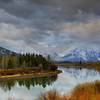 The much photographed view in June from Oxbow bend Overlook in the Grand Tetons National Park in Wyoming.