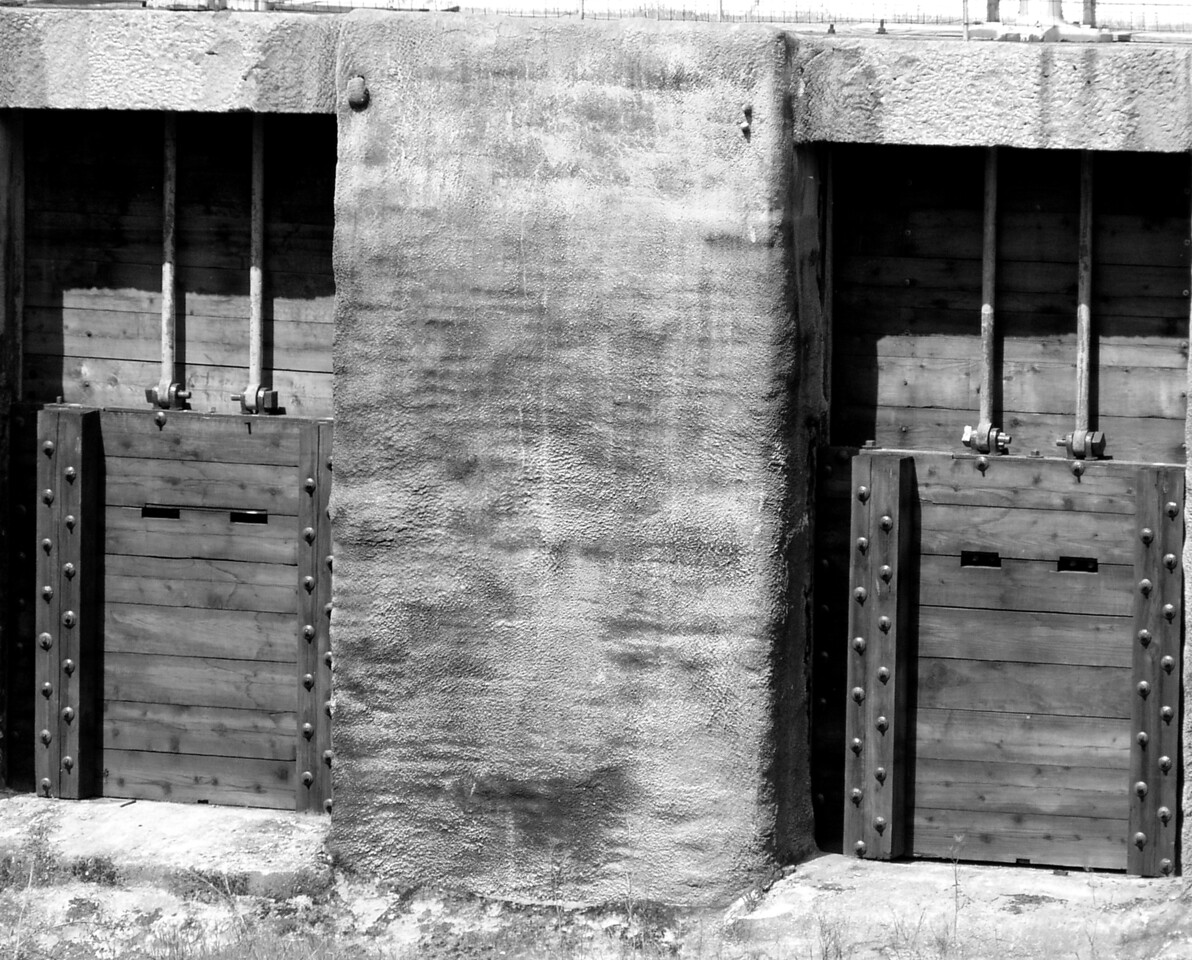"""HBC-032804-01 """"Watergates"""" Historic Folsom Powerhouse, Folsom, California.  Black-and-white image."""