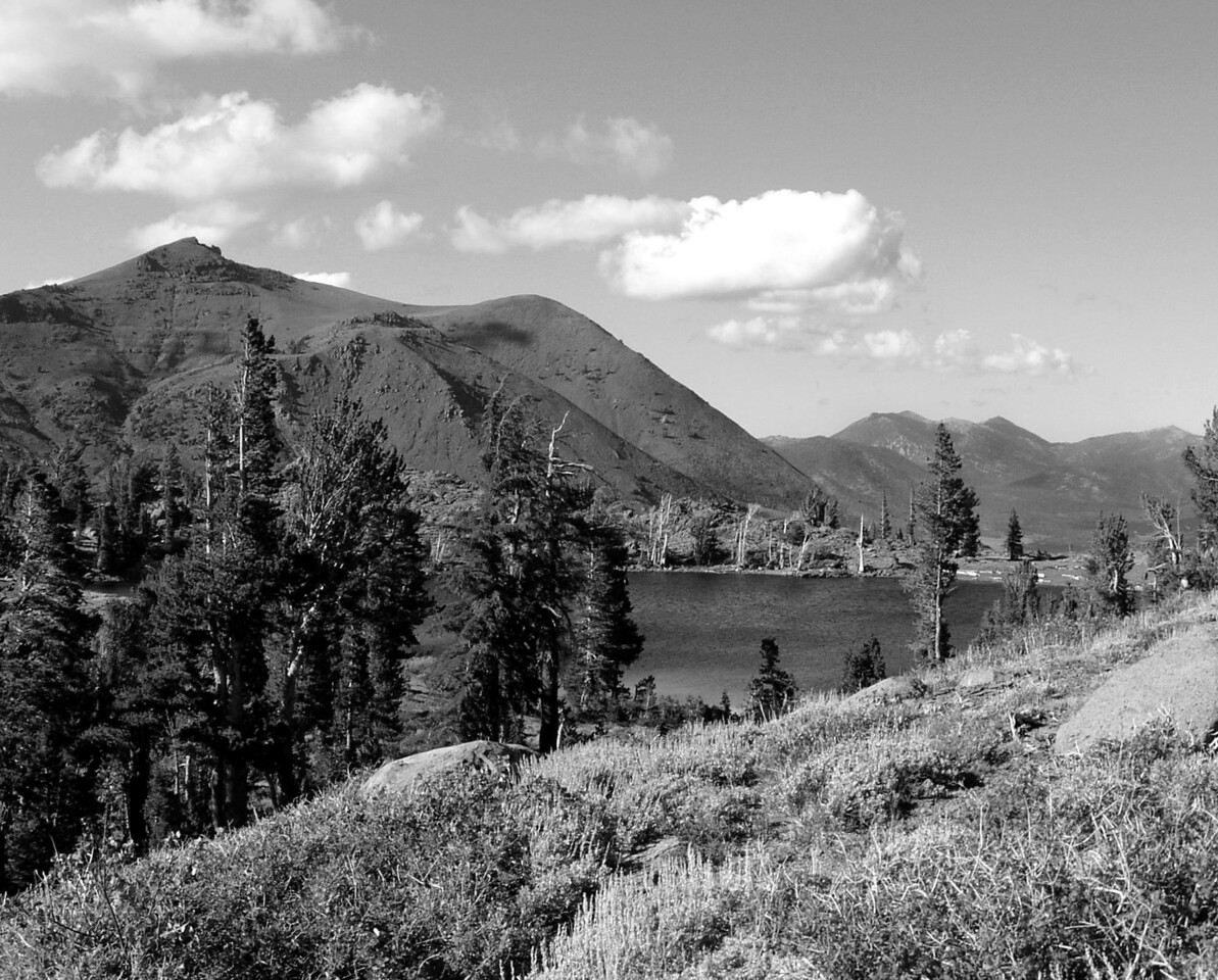 "SOC-080603-67BW  ""Frog Lake in August""  Mokolumne Wilderness, California.  Black-and-white print."