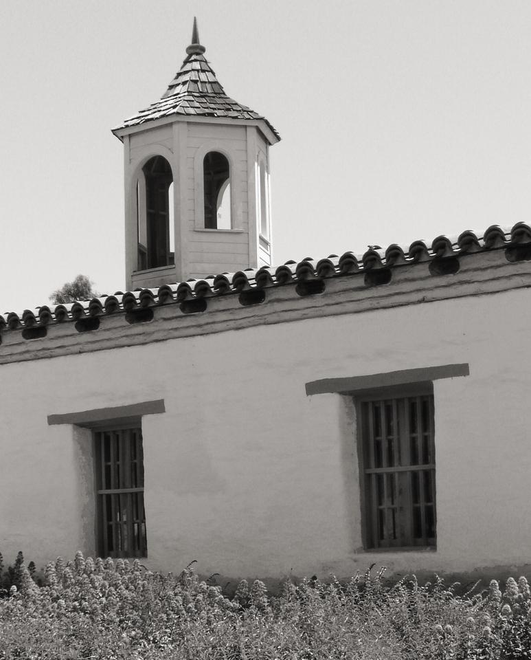 "HBC-042404-16sepia ""Bell Tower"" La Casa de Estudillo, Old Town San Diego, California."