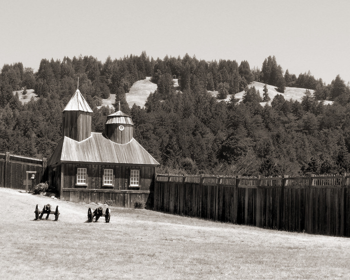 """HBC-082003-11-SP  """"Fort Ross""""  Fort Ross State Historic Park, California.  Sepia-toned image."""