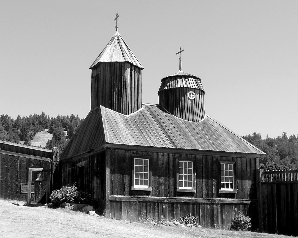 "HBC-082003-08BW ""Fort Ross Chapel""  Fort Ross State Historic Park, California"