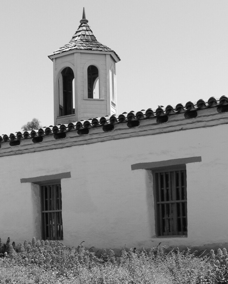 "HBC-042404-16BW ""Bell Tower"" La Casa de Estudillo, Old Town San Diego, California."
