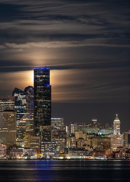 Downtown Seattle Moonrise