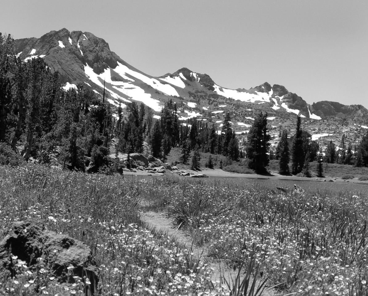 "SOC-071104-18BW  ""High Country Lake""  Frog Lake, Carson Pass, California.  Black-and-white image."