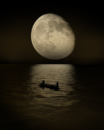 Moon Reflection on Canoers