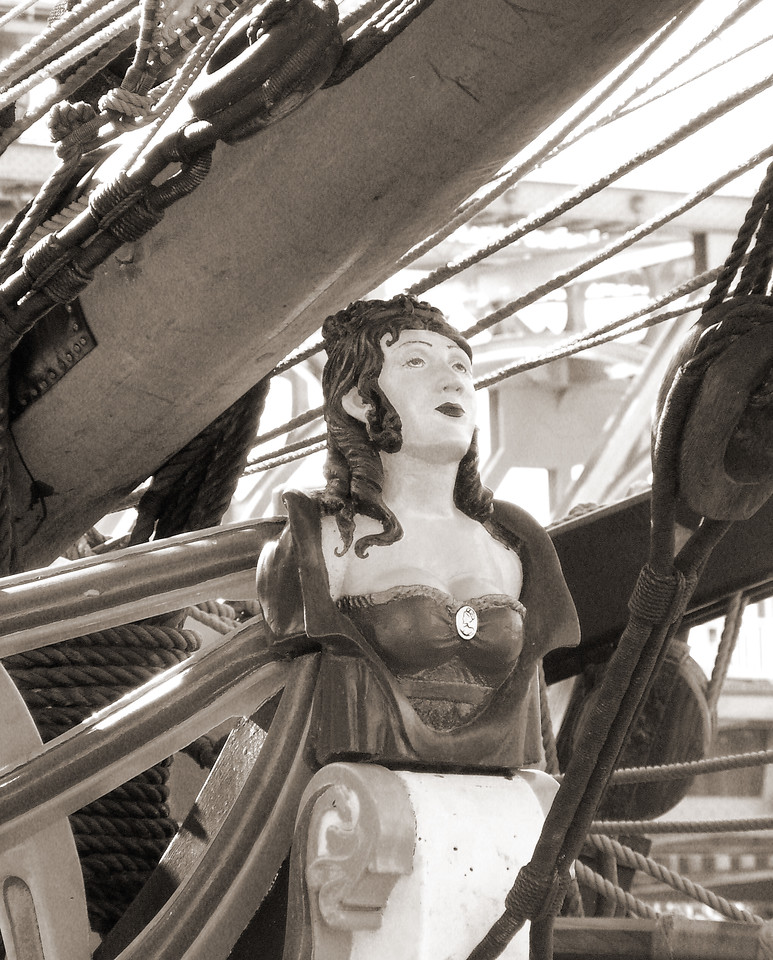 """HBC-112004-10sepia  """"Figurehead (Lady Washington)"""" Docks at Old Sacramento, California.  Sepia-toned image."""