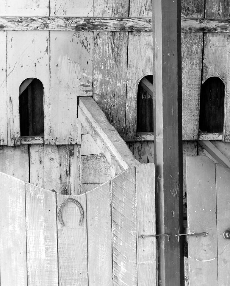"HBC-041005-15BW ""Horsebox""  San Juan Bautista State Historic Park, California.  Black-and-white image."