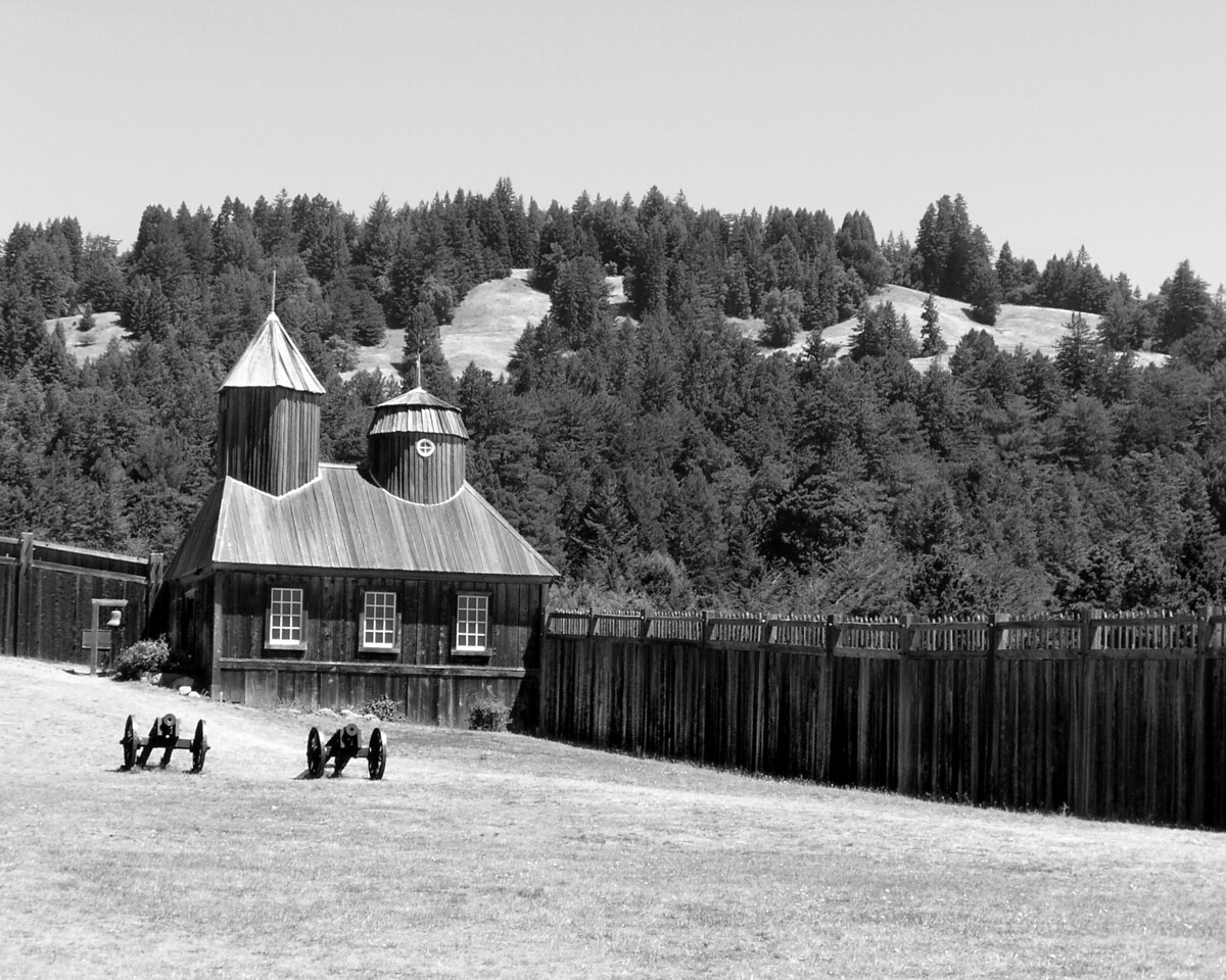 """HBC-082003-11BW  """"Fort Ross""""  Fort Ross State Historic Park, California.   Black-and-white image."""
