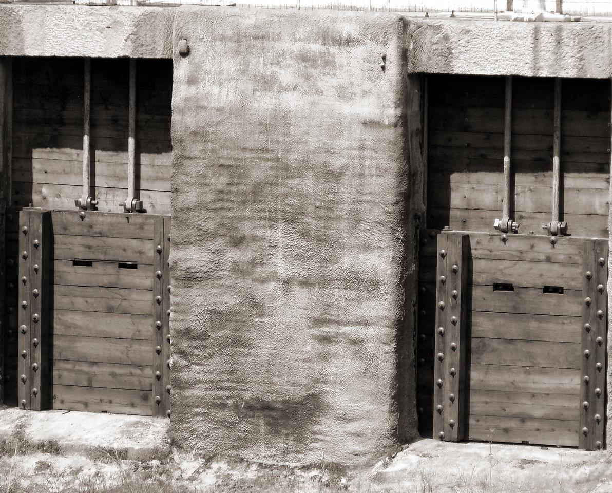 "HBC-032804-01 ""Watergates"" Historic Folsom Powerhouse, Folsom, California.  Sepia-toned image."