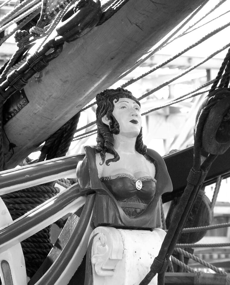 """HBC-112004-10BW  """"Figurehead (Lady Washington)"""" Docks at Old Sacramento, California.  Black-and-white image."""