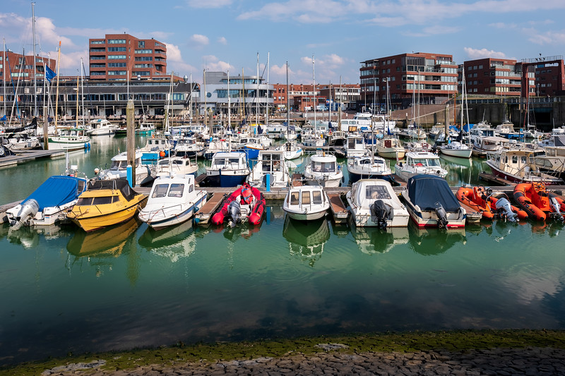 Small boats docked in Scheveningen Harbour
