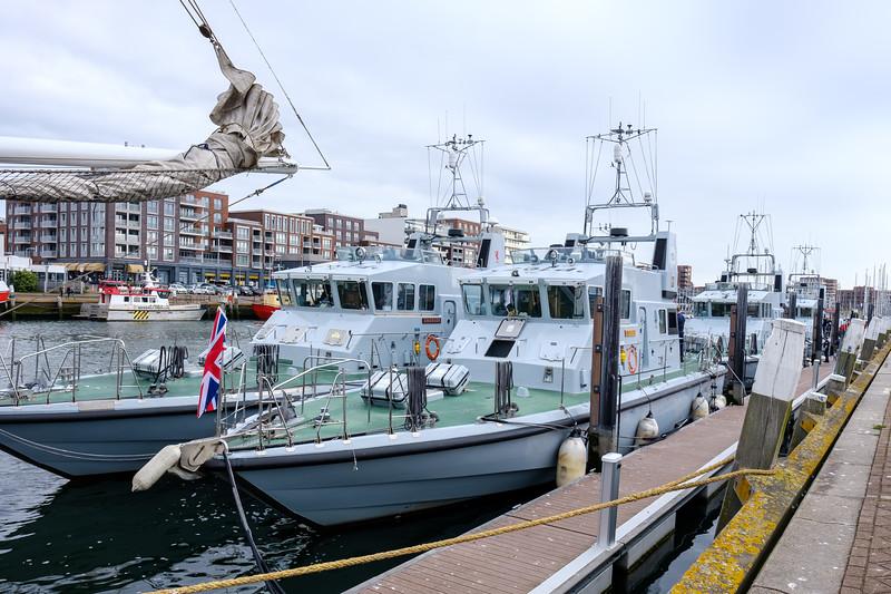 UK navy vessels docked in Scheveningen Harbour