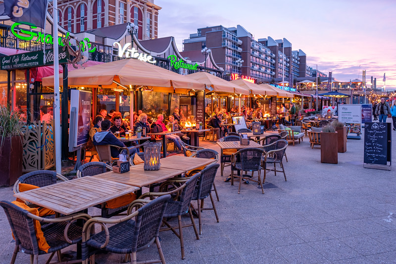 Scheveningen Boulevard Restaurants at dusk.