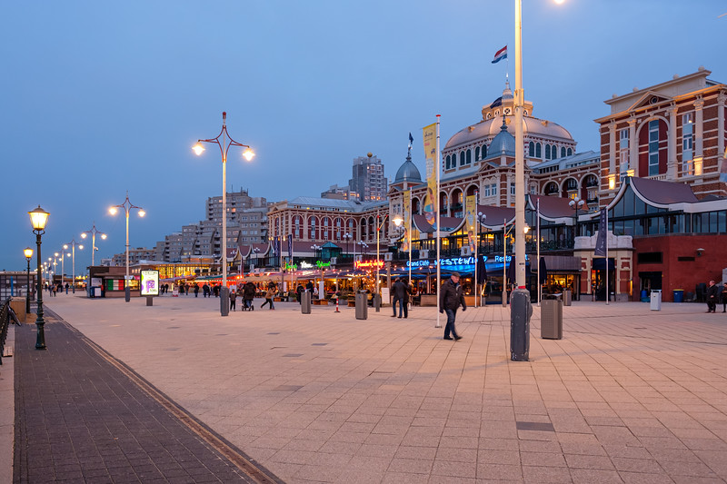 Kurhaus and Scheveningen Boulevard at dusk.
