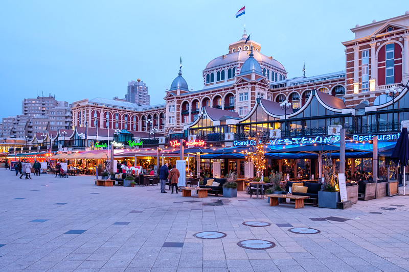 Kurhaus and Scheveningen Boulevard restaurants at dusk.