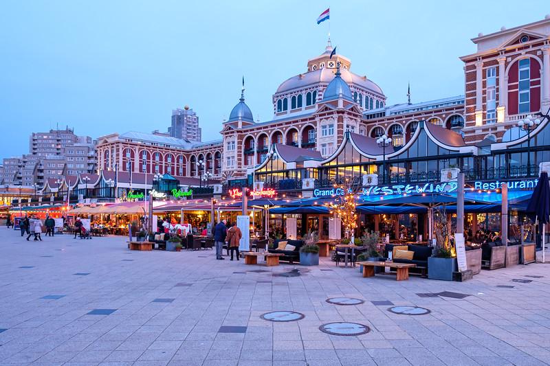 Kurhaus and Scheveningen Boulevard restaurants at dusk.