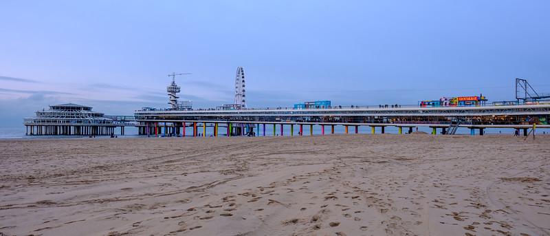 Scheveningen Pier at dusk.
