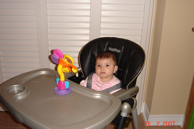 Gabi in her high chair for the first time