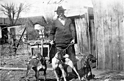 William Tacket Milhoan with his hounds. My great-great grandfather; Garland Milhoan's grandfather.