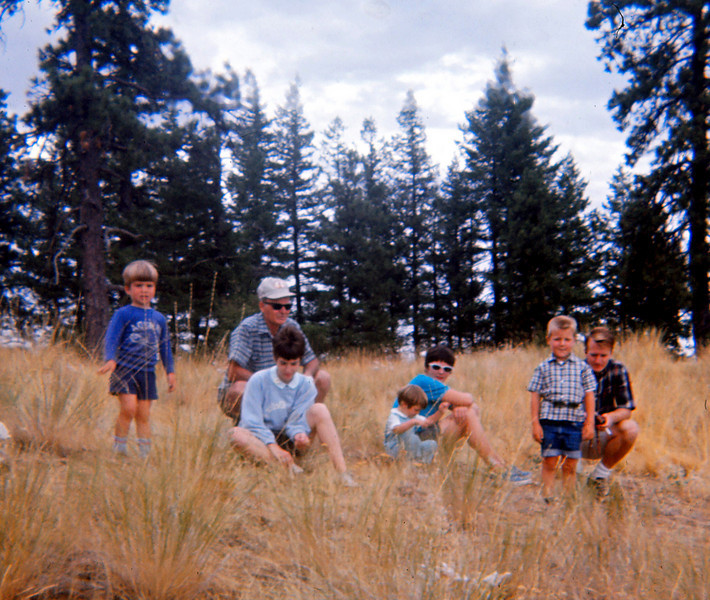 L to R: John, G'pa Schneider, Aunt Marianne, Ann, Mom, Rick, Dad, 1968 (?)