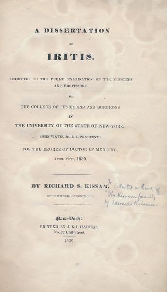 1830 Richard S Kissam Medical Dissertation