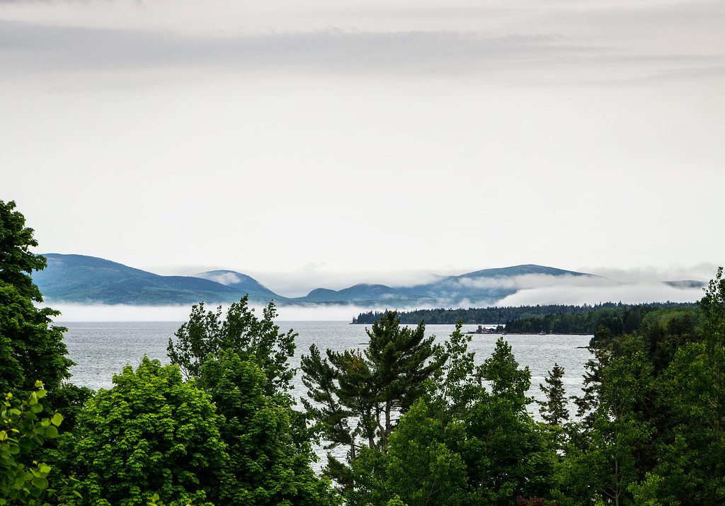 Mt. Desert Island surrounded by fog, viewed from Rte 1 in Gouldsboro, ME