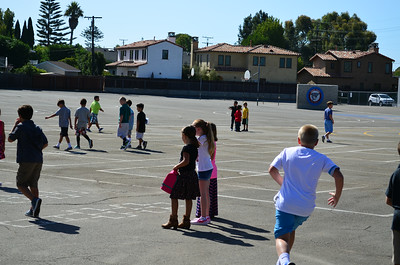 Students Play on the Blacktop at Newport Heights