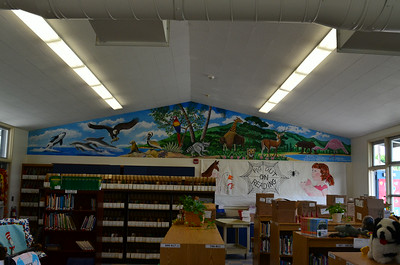 New Mural on the Library Wall at Newport Heights