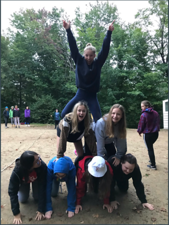 Buffalo Seminary Juniors showing off their pyramid skills in Random Scavenger Hunt