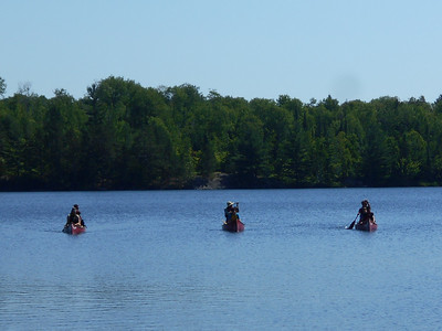 Red cedar canoes on Source Lake