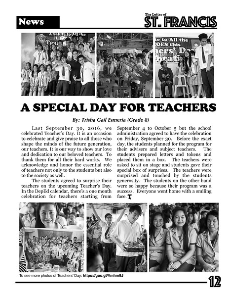 Letter of St. Francis Newsletter SY 2016-2017 Page 12
