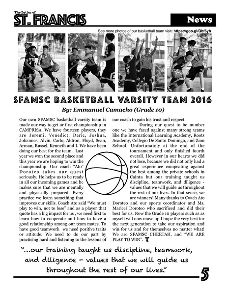 Letter of St. Francis Newsletter SY 2016-2017 Page 05