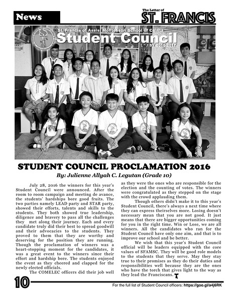 Letter of St. Francis Newsletter SY 2016-2017 Page 10