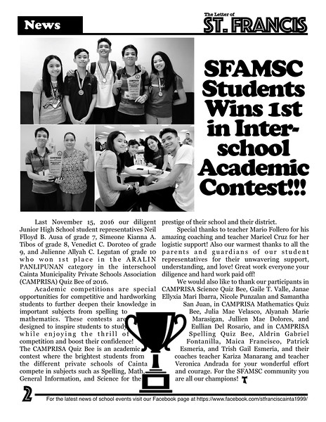Letter of St. Francis Newsletter SY 2016-2017 Page 02