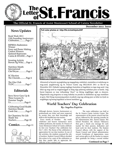 SFAMSC Newsletter December 2011 Page 01