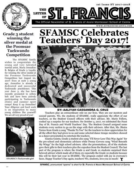 Letter of St. Francis Newsletter Issue 1 SY 2017-2018 Page 01