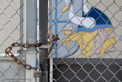 Gates with locks and chains are also found at specific areas of campus for extra security at Pleasant Valley High School in Chico, Calif. Thurs. April 12, 2018. (Bill Husa -- Enterprise-Record)