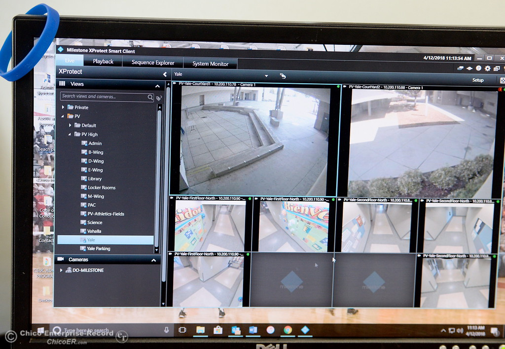 . Prinicipal John Shepherd can monitor several cameras that record activiy around campus at Pleasant Valley High School in Chico, Calif. Thurs. April 12, 2018. (Bill Husa -- Enterprise-Record)