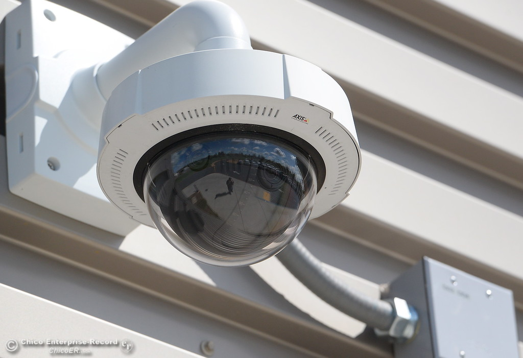 . Security cameras are found recording activities throughout the campus at Pleasant Valley High School in Chico, Calif. Thurs. April 12, 2018. (Bill Husa -- Enterprise-Record)