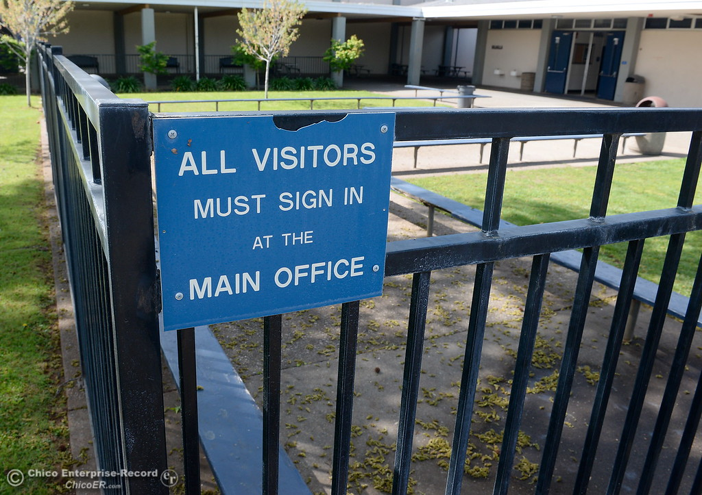 . All visitors are required to sign in at the main office upon arrival at Pleasant Valley High School in Chico, Calif. Thurs. April 12, 2018. (Bill Husa -- Enterprise-Record)