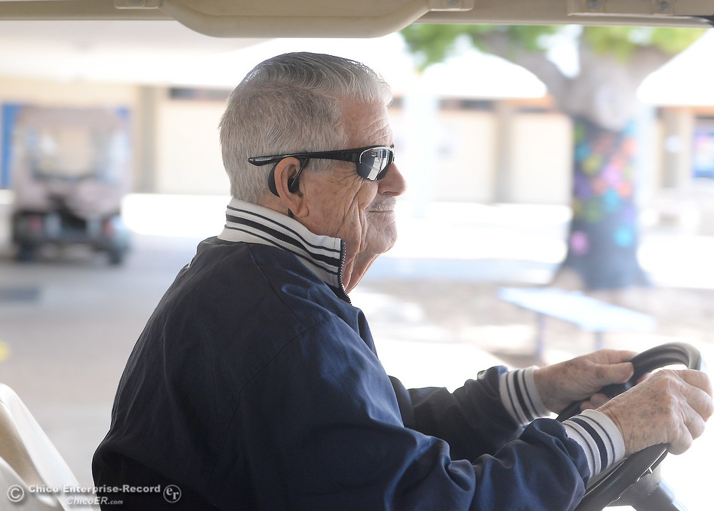 . Campus Supervisor Ray Horn uses a golf cart to quickly get around campus as needed at Pleasant Valley High School in Chico, Calif. Thurs. April 12, 2018. (Bill Husa -- Enterprise-Record)
