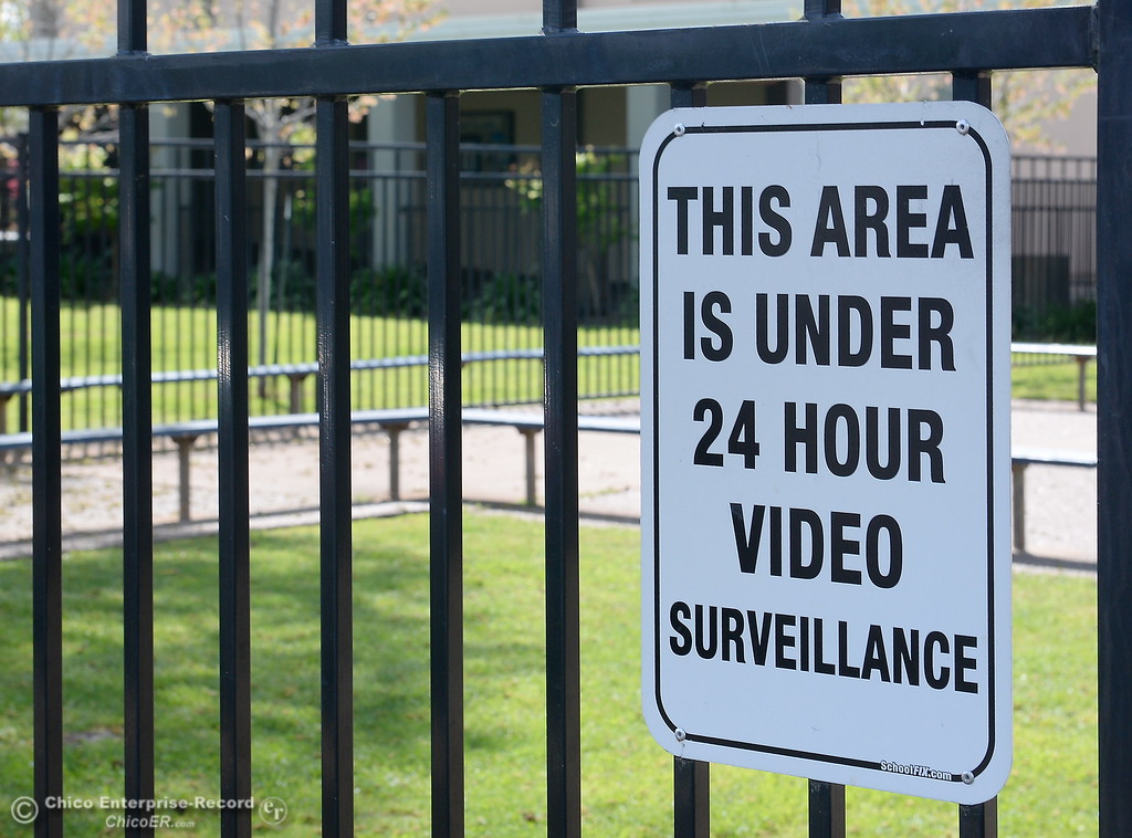 . Signs are posted warning of 24 hour video surveillance at Pleasant Valley High School in Chico, Calif. Thurs. April 12, 2018. (Bill Husa -- Enterprise-Record)
